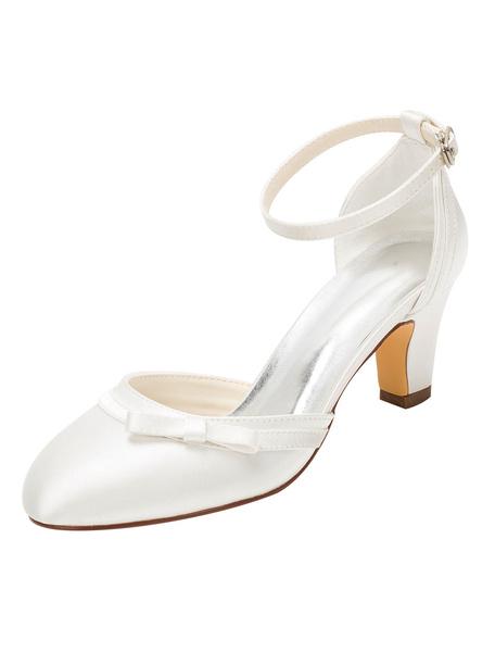 Milanoo Zapatos de novia de seda sintetica Zapatos de Fiesta de tacon gordo Zapatos blanco  Zapatos de boda de puntera redonda 6cm con lazo