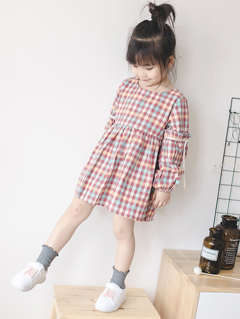 Ericdress Peter Pan Collar Lantern Sleeve Girl's Plaid Cute Dress