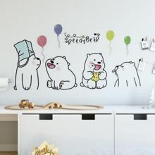 1 hoja pegatina de pared con dibujos animados