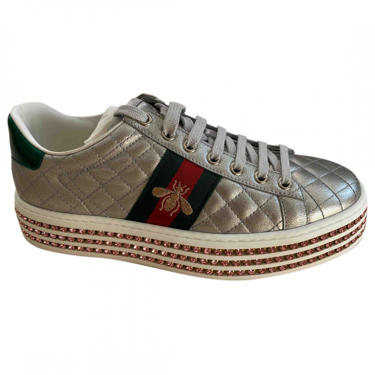 Gucci Ace Sneakers in  Grau Leder