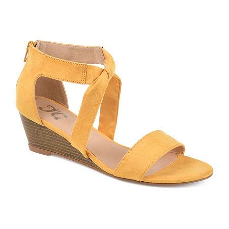 Journee Collection Womens Mattie Zip Open Toe Wedge Heel, 7 Medium, Yellow