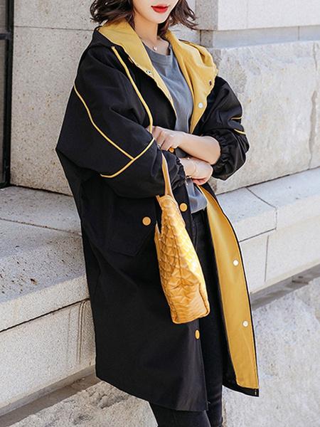 Milanoo Abrigo de mujer Abrigo informal con cremallera de manga larga con capucha negra
