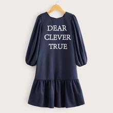 Girls Lantern Sleeve Slogan Graphic Ruffle Hem Dress