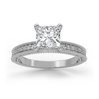 Vintage Milgrain Diamond Moissanite Princess & Round Cut Engagement Ring (7.5 - White)