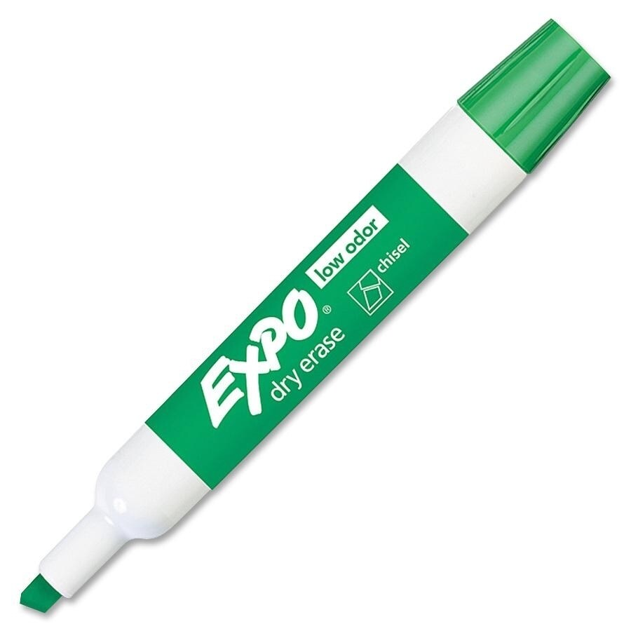 Expo Green Low-odor Dry Erase Chisel Point Markers - 1 Box (Master)