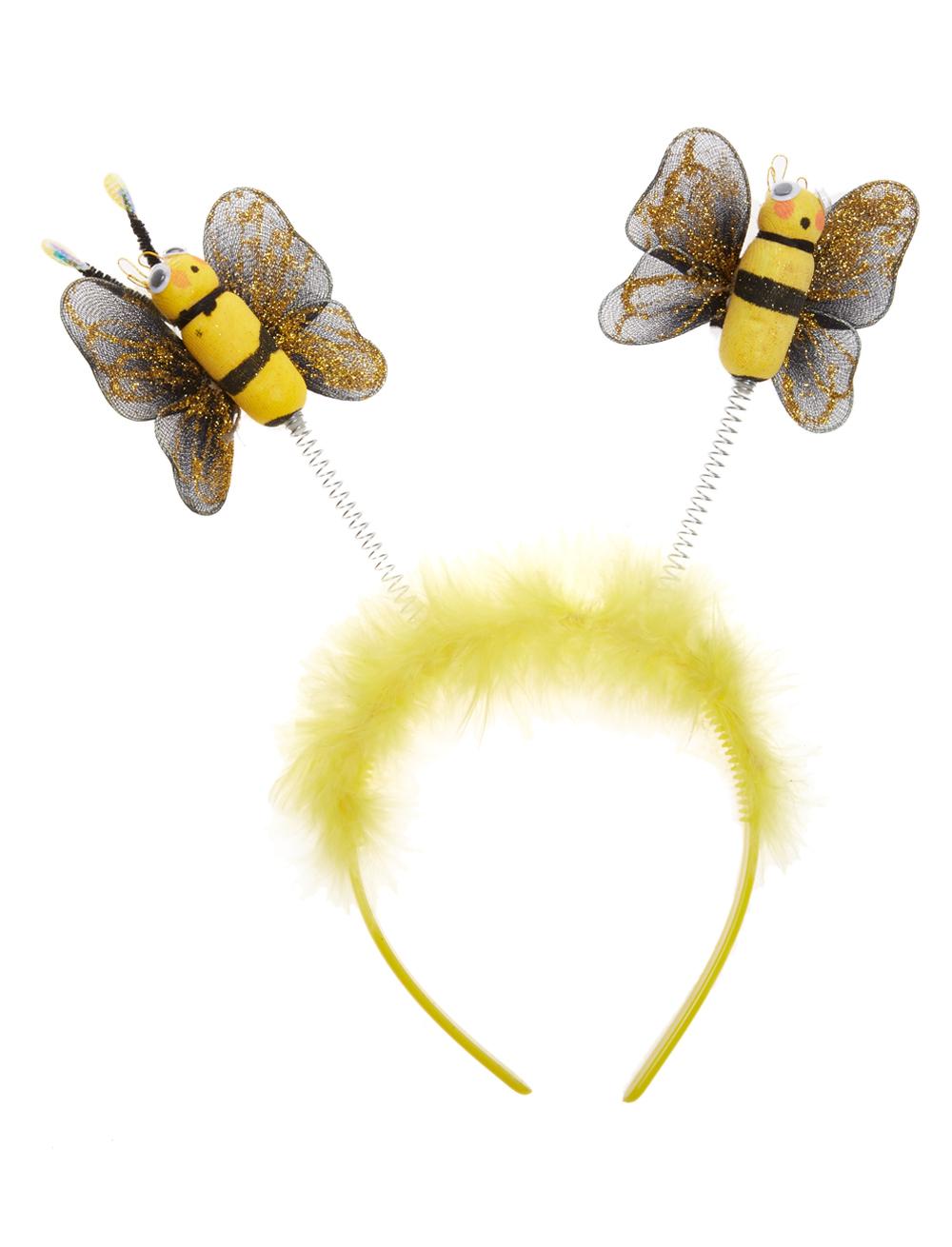Kostuemzubehor Haarreif mit Bienchen und Marabu Farbe: gelb