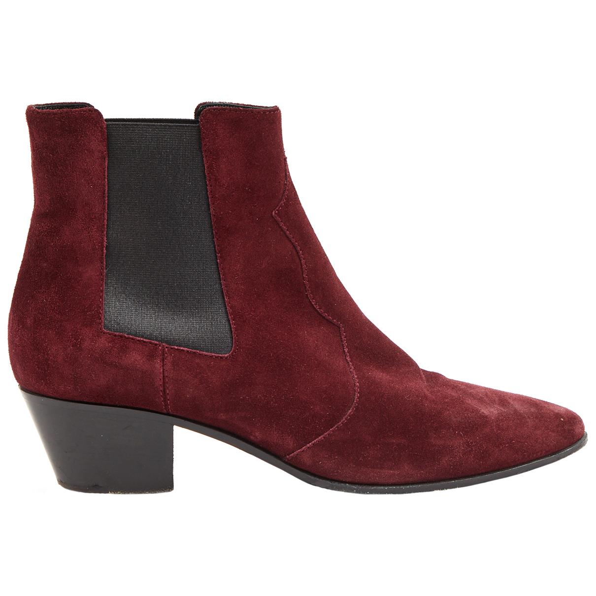 Saint Laurent \N Burgundy Suede Ankle boots for Women 39 EU