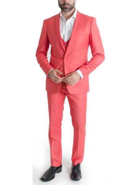 Men's 3 Piece Salmon Narrow Peak Lapel Spring Vested Slim Fit Suit