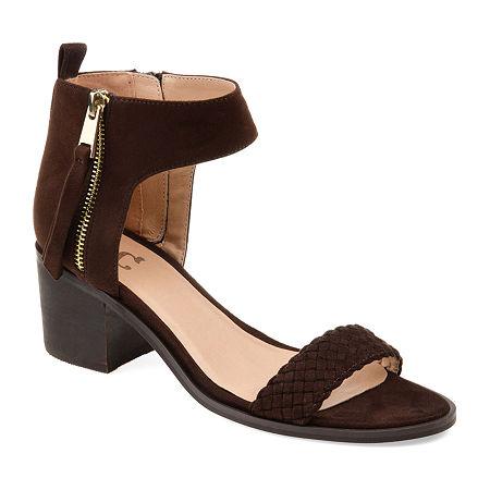 Journee Collection Womens Hunter Heeled Sandals, 8 Medium, Brown