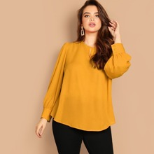 Plus Keyhole Detail Buttoned Cuff Solid Top