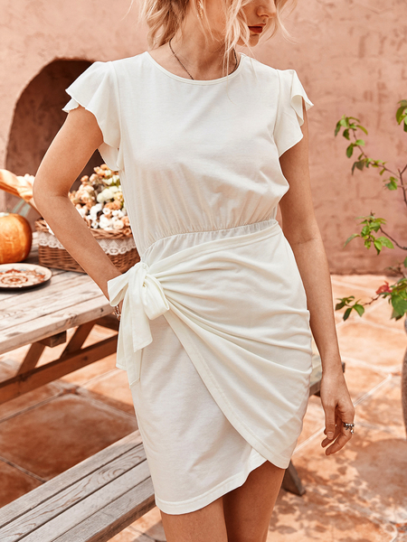 Yoins Bowknot Tiered Design Ruffle Sleeves Dress