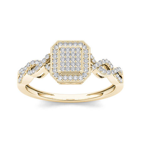 1/5 CT. T.W. Diamond 10K Yellow Gold Engagement Ring, 7 , No Color Family