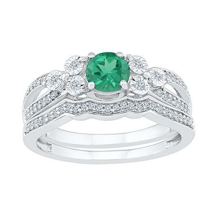 Modern Bride Gemstone Lab Created Emerald & 1/5 CT. T.W. Diamond Sterling Silver Bridal Set, 5 , No Color Family
