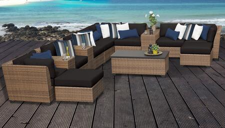 Laguna Collection LAGUNA-14a-BLACK 14-Piece Patio Set 14a with 3 Corner Chair   5 Armless Chair   2 Ottoman   3 Cup Table   1 Storage Coffee Table -