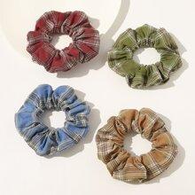 4pca Plaid Pattern Scrunchie