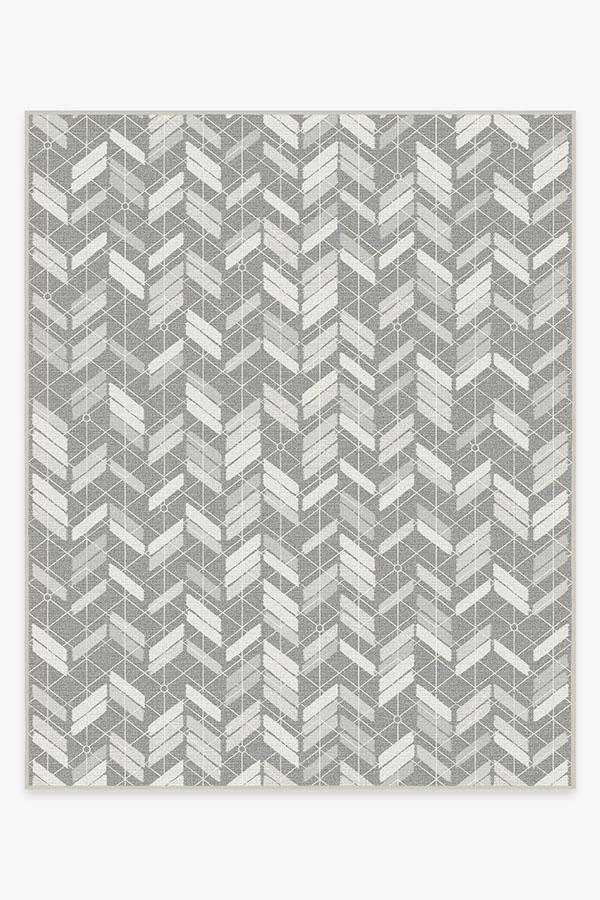 Washable Rug Cover | Outdoor Painted Chevron Grey Rug | Stain-Resistant | Ruggable | 8'x10'