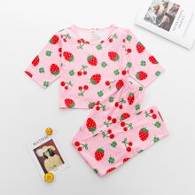 Girls Strawberry And Cherry Print PJ Set