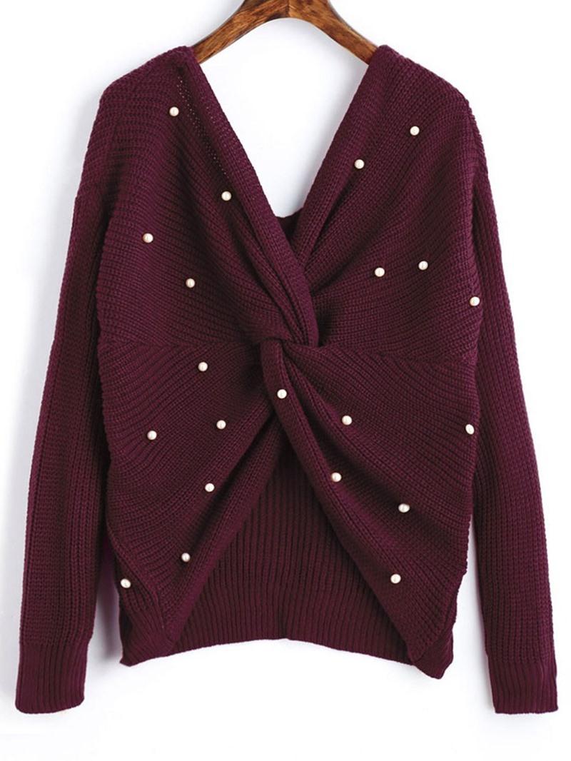Ericdress Backless Thin Regular Standard Long Sleeve Sweater