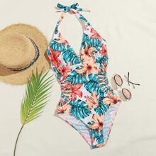 Einteiliger Badeanzug mit Blumen & tropischem Muster und Ausschnitt auf Taille