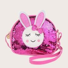 Bolso bandolera de niñas con lentejuela con diseño de conejo de dibujos animados