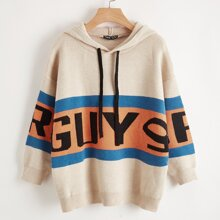 Pullover mit sehr tief angesetzter Schulterpartie, Buchstaben Grafik und Kapuze
