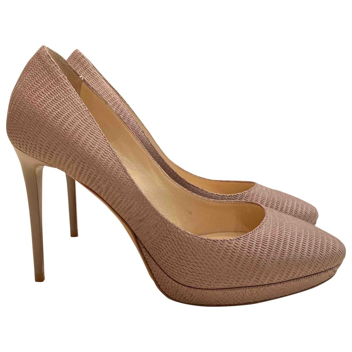 Jimmy Choo \N Beige Leather Heels for Women 37 EU