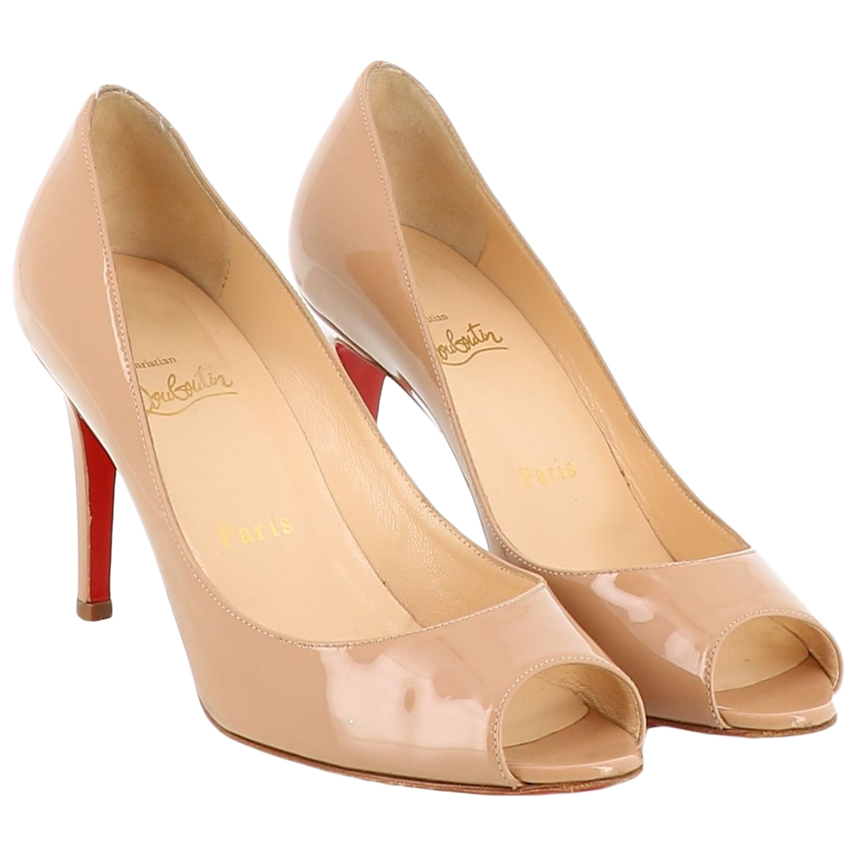 Christian Louboutin \N Beige Patent leather Sandals for Women 36 EU