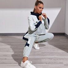 Sports Hoodie mit Kontrast Einsatz, halbem Reissverschluss und Jogginghose