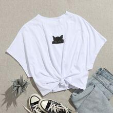 T-Shirt mit Katze Muster und Fledermausaermeln