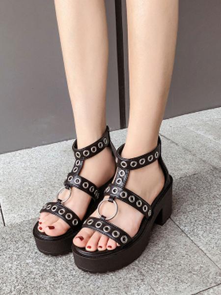 Milanoo Women Sandals Chunky Heel Chic Black T-Strap Women\'s Sandals