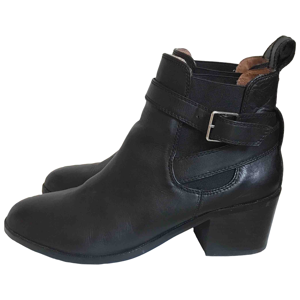 Bimba Y Lola \N Black Leather Ankle boots for Women 38 EU