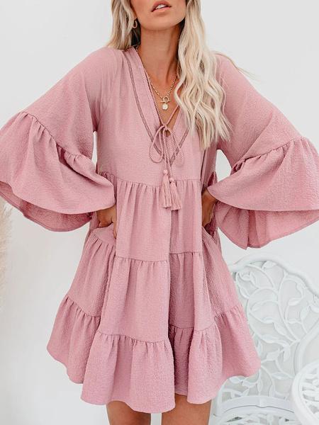 Milanoo Vestido de tubo con cordones y mangas 3/4 con cuello en V rosa para mujer