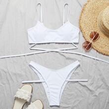 Bikini Badeanzug mit Kreuzgurt und hohem Ausschnitt