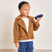 Toddler Boys Contrast Suede Zip Up Biker Jacket