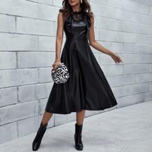 Contrast Lace Ruffle Mock Neck A-line Dress
