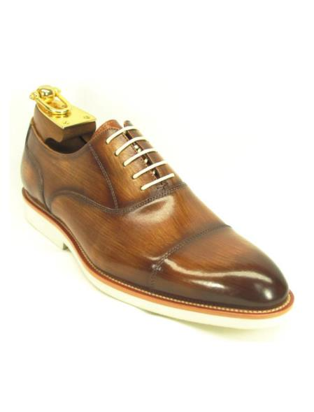 Men's Cognac Cap Toe Lace Up Style Leather Shoes With White Sole