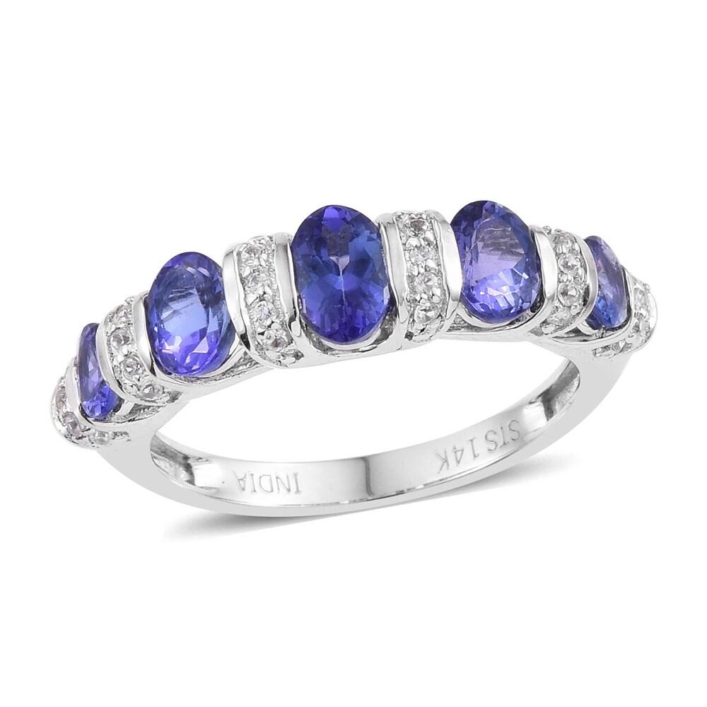 Rhodium Over White Gold Blue Tanzanite Ring Size 7 Ct 2 - Ring 7 (Blue - Blue - White - Tanzanite - Ring 7)