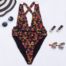 Floral & Chinese Dragon Print Plunging One Piece Swimsuit