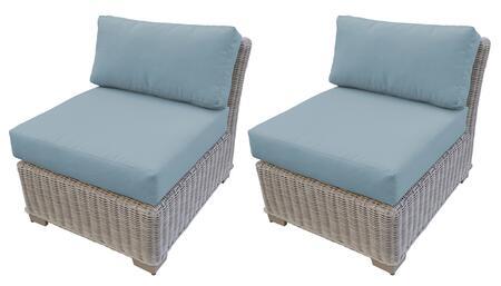 TKC038b-AS-DB-SPA Armless Chair 2 Per Box - Beige and Spa