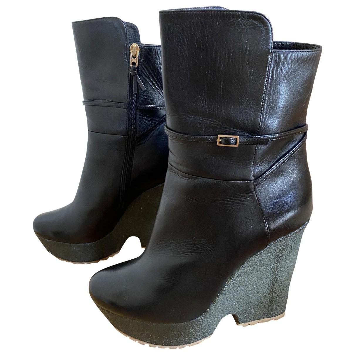 Lerre - Boots   pour femme en cuir - noir