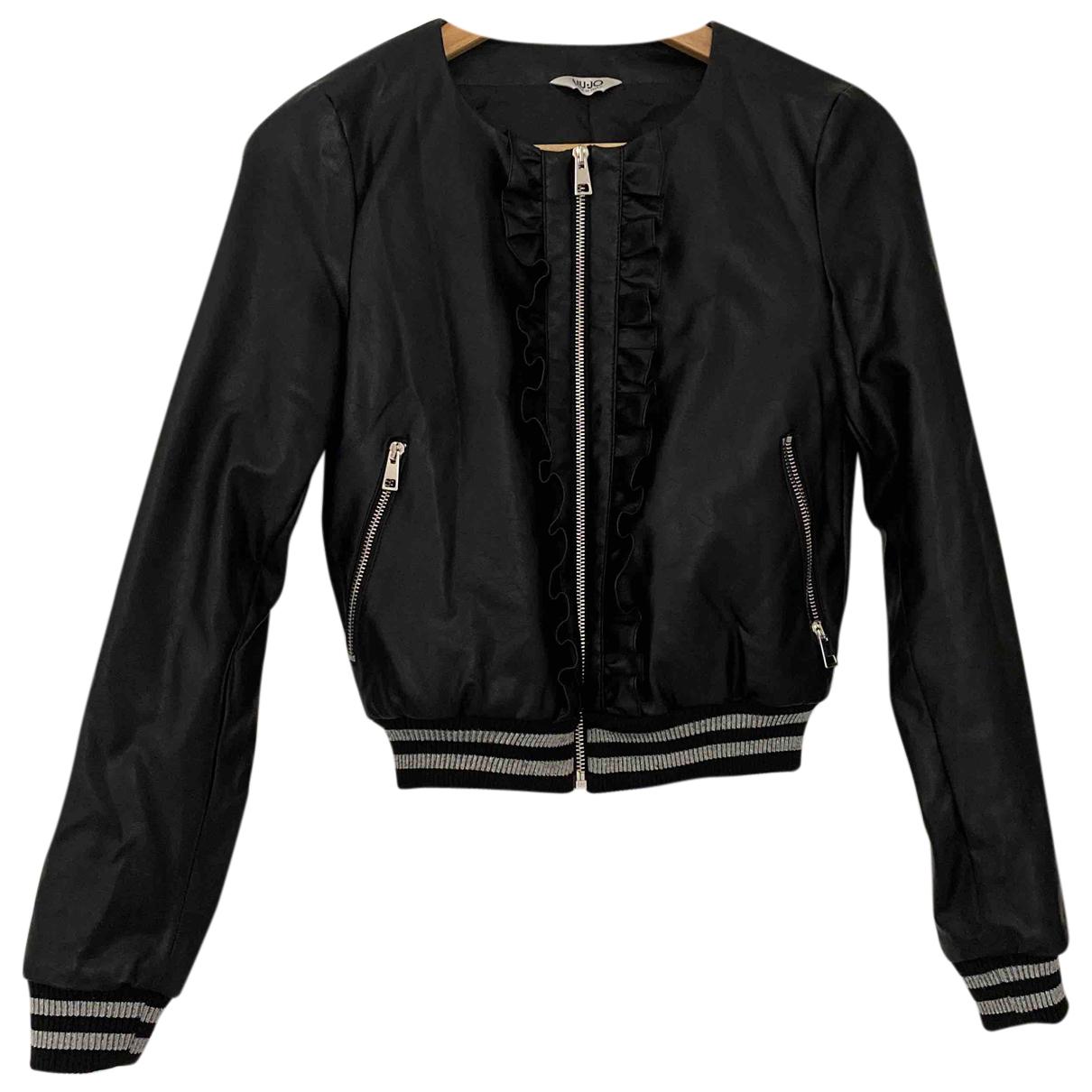 Liu.jo N Black Leather jacket for Women 38 IT