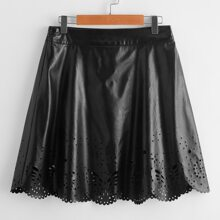 Scallop Edge Laser Cutout PU Leather Skirt