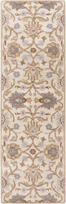 Caesar CAE-1109 26 x 8 Runner Traditional Rug in Cream  Camel  Taupe  Denim  Medium Grey