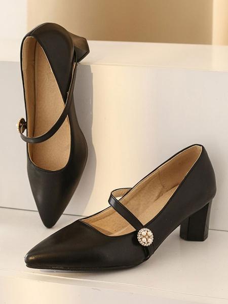 Milanoo Women\'s Mid-Low Heels Elegant Pointed Toe Chunky Heel Slip-On Stylish Apricot Pumps