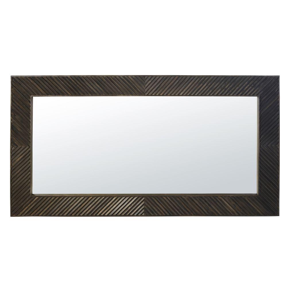 Spiegel mit Rahmen aus dunklem, geschnitztem Mangoholz 85x160