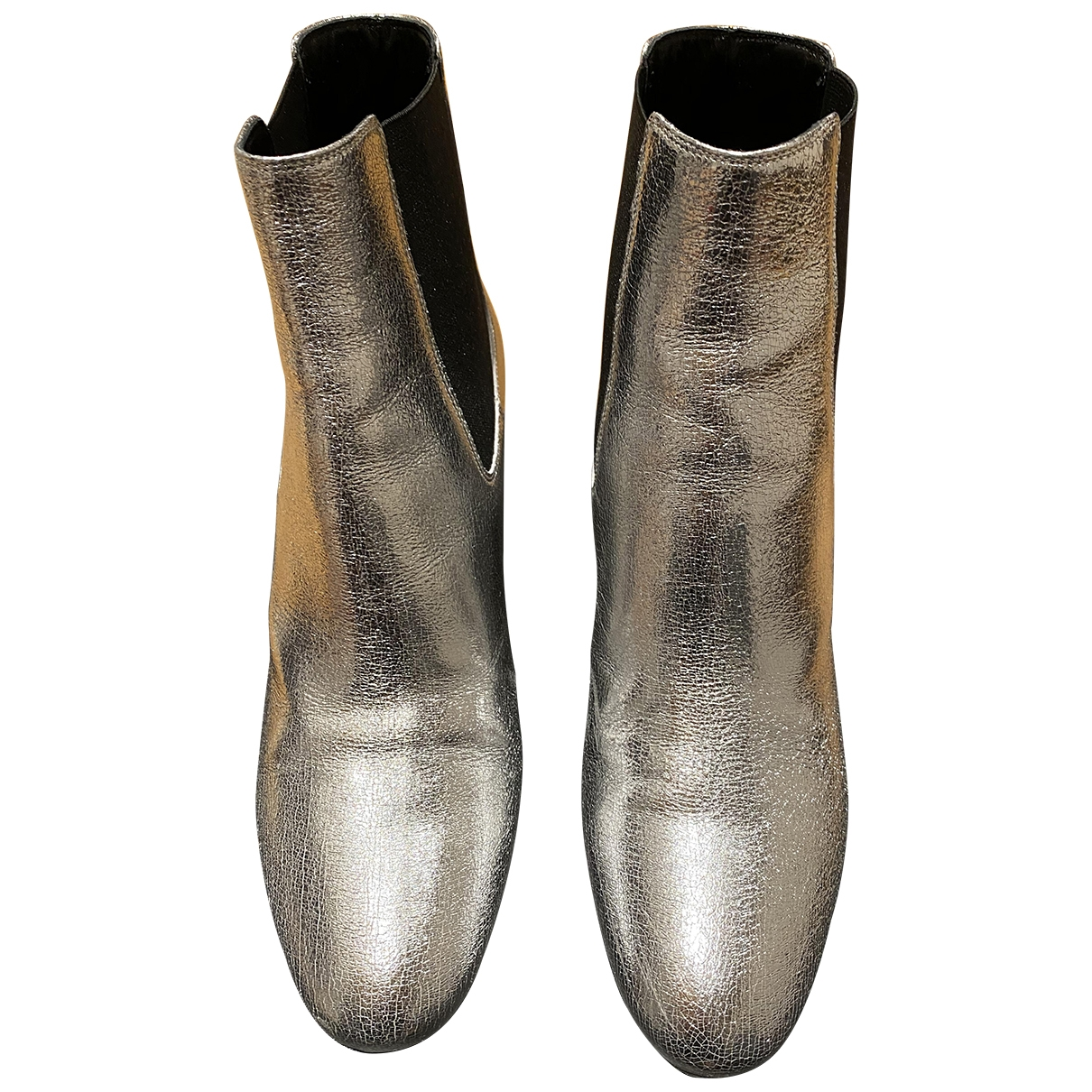 Saint Laurent Loulou Silver Leather Ankle boots for Women 38 EU