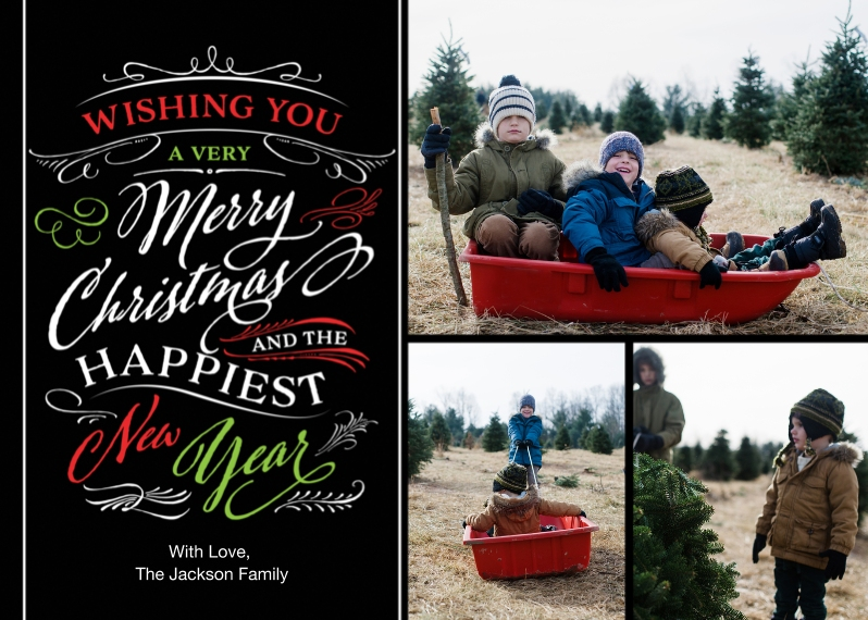 Christmas Photo Cards 5x7 Cards, Premium Cardstock 120lb, Card & Stationery -Christmas Wishes Swirls