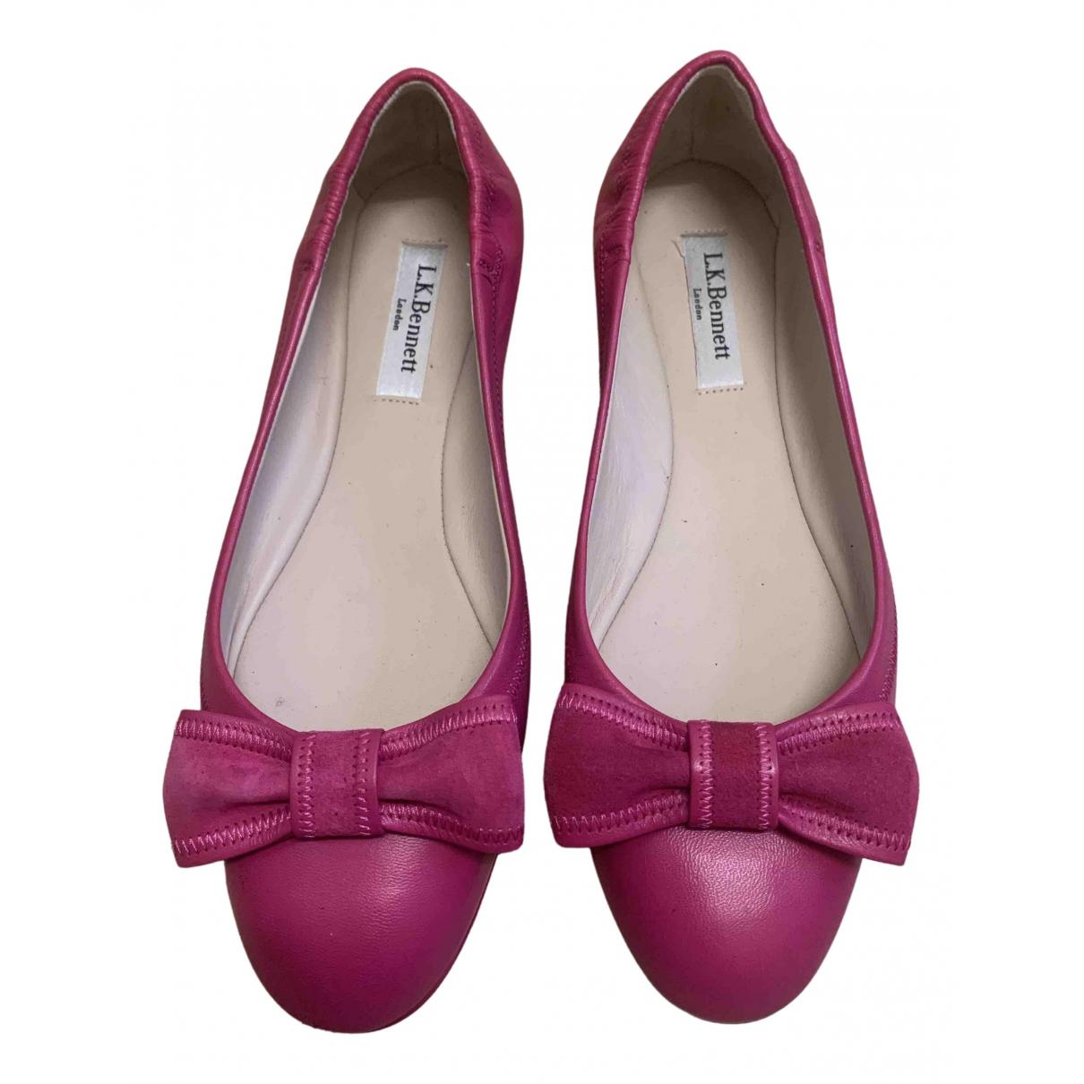 Lk Bennett N Pink Leather Flats for Women 37 EU