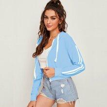 Side Stripe Zip Up Drawstring Hooded Sweatshirt