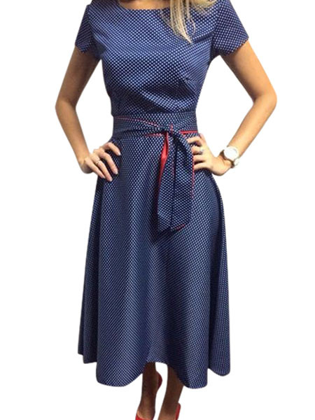 Milanoo Vintage Summer Dress Blue Polka Dot Audrey Hepburn Short Sleeves Sash Retro Midi Swing Dress